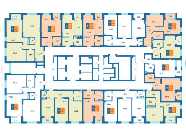 Планировки Жилой комплекс ГРАНИТ - Планировка квартир на 3-7 этаже ЖК Гранит