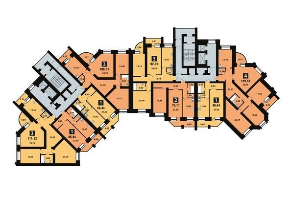 Планировки Копылова, 5 дом, 1 оч - Планировка 6 этажа
