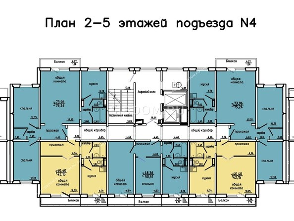 Планировки Жилой комплекс Иннокентьевский, 3 мкр, дом 3 - 4 подъезд, 2-5 этажи
