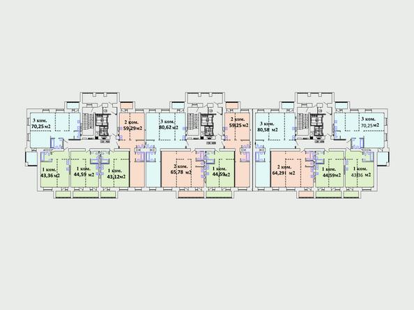 Планировки Жилой комплекс Комарова-13 - Планировка типового этажа