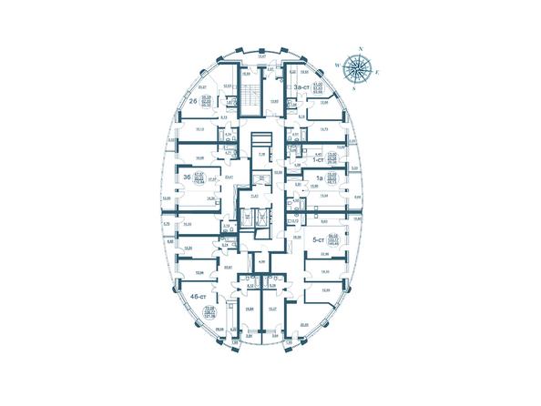 Планировки Жилой комплекс ФЛОТИЛИЯ - Планировка 25 этажа дома «Адмирал Нахимов»