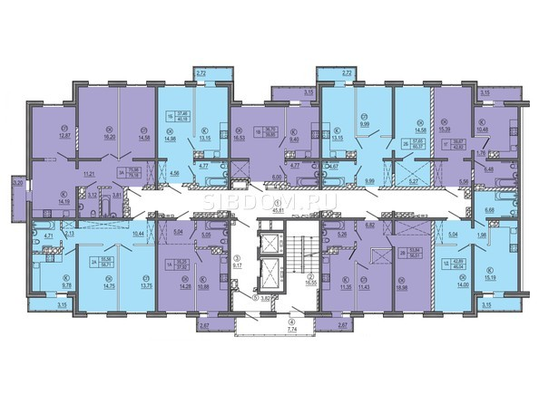 МКД 2. Планировка типового этажа.