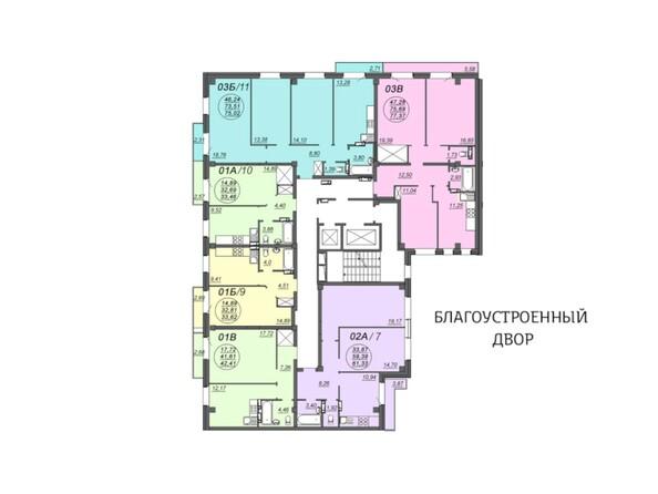Планировки Жилой комплекс АЭРОПОРТ, дом 1 - Блок-секция 2. Этажи 2-4