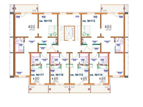 Планировки Жилой комплекс БЕРЁЗОВАЯ РОЩА, 70е, 1 очередь - Блок-секция 3 (подъезд 3). Планировка типового этажа