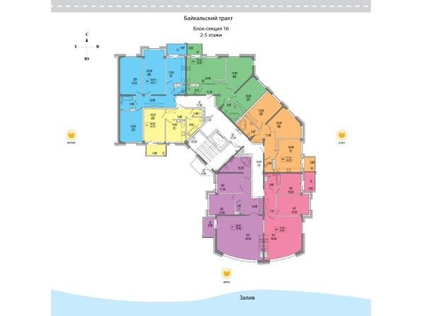16 блок-секция. Планировка 2-5 этажей