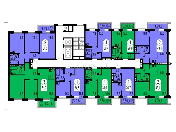 Блок-секция №3. Планировка типового этажа