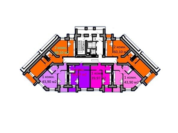 Планировки Жилой комплекс СЕРЕБРЯНЫЙ БЕРЕГ, дом 5 - Подъезд 2. Планировка типового этажа