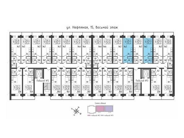 Планировки Жилой комплекс Нефтяная, 15 - Планировка 8 этажа