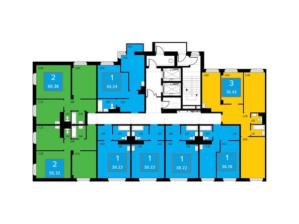 Подъезд 1. Планировка 2 этажа