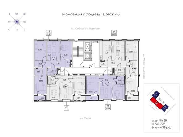 Подъезд 1. Планировка 7,8 этажа