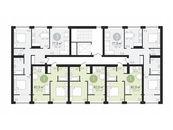 Планировки Жилой комплекс ЕВРОПЕЙСКИЙ БЕРЕГ, дом 22 - Подъезд 6. Планировка типового этажа
