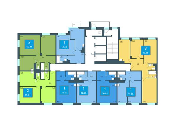Планировки Жилой комплекс ПРЕОБРАЖЕНСКИЙ, дом 13 - Подъезд 2. Планировка 3 этажа
