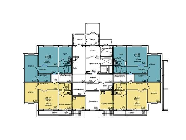 Планировки Жилой комплекс Иннокентьевский, 3 мкр, дом 6 - Подъезд 3. Планировка 1 этажа
