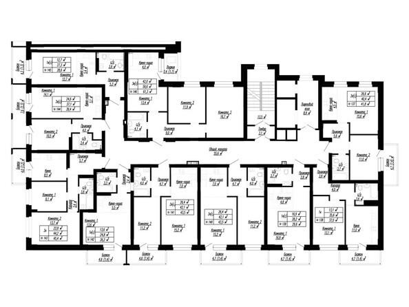 Планировка 2-16 этажей, 1 б/с