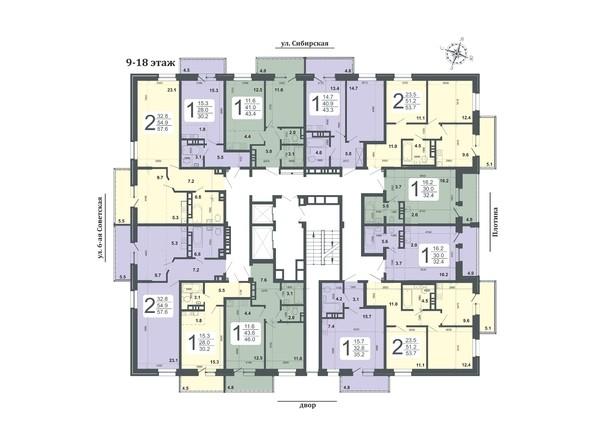 Планировка 9-18 этажей