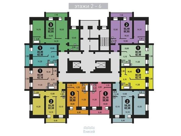 Планировки Жилой комплекс ЭДЕЛЬВЕЙС, дом 6, 6 оч - Планировка 2-6 этажи