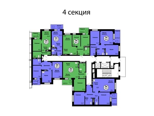 Планировка типового этажа, секция 4