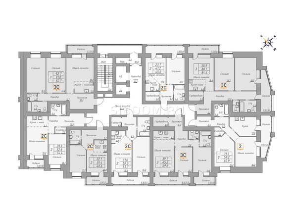 Планировки Жилой комплекс ДВЕ ЭПОХИ, корпус 1 - Планировка 5-11 этажей, 1 б/с