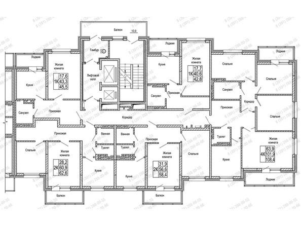 Планировки Жилой комплекс КОМСОМОЛЬСКИЙ  - Блок-секция 1. Планировка 11-19 этажей