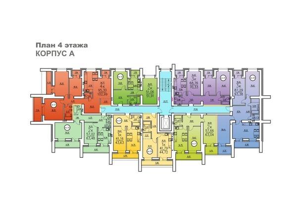 Корпус А. Планировка 4 этажа