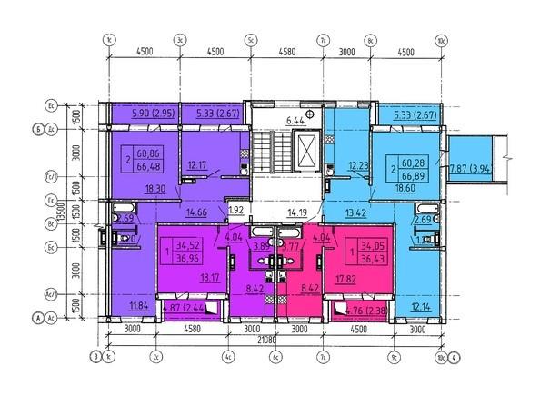 Планировки Жилой комплекс Павловский тракт, 305г - Планировка 3-10 этажей, 7 б/с