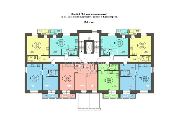 Планировки Жилой комплекс Базарная, дом 2 - Планировка 2-9 этажей