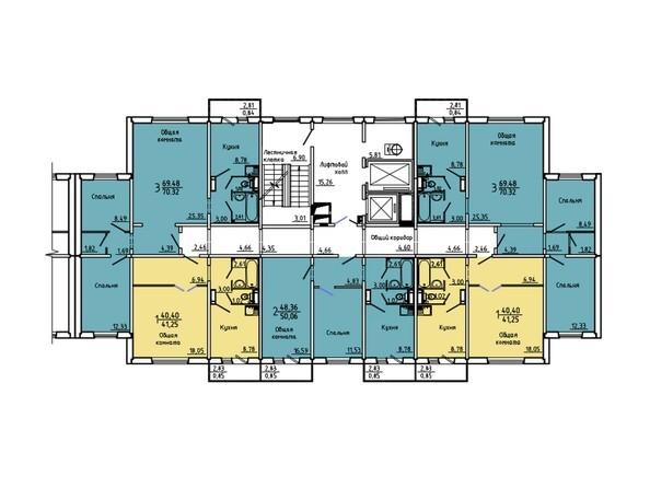 Подъезд 1. Планировка 2-14 этажей