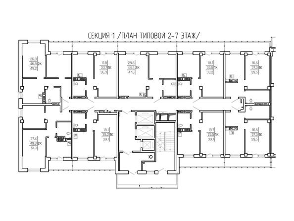 Поэтажная планировка: 1 подъезд