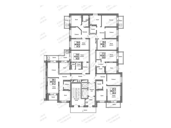 Планировки Жилой комплекс НА ШУМЯЦКОГО - Блок-секция 3. Планировка типового этажа