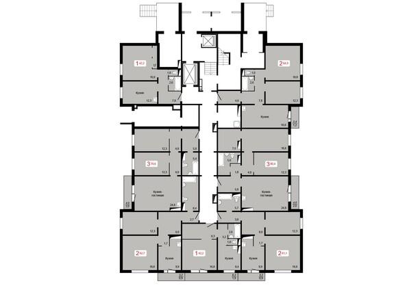 Планировки КУРЧАТОВА, дом 9, стр 1 - Планировка 1 этажа