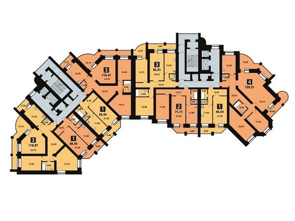 Планировки Копылова, 5 дом, 1 оч - Планировка 11 этажа