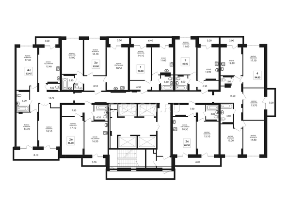 Планировки Жилой комплекс VIVANOVA (Виванова) - Подъезд 2. Планировка типового этажа