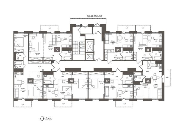 Планировки Жилой комплекс МАРТ, 1 б/с - Подъезд 1. Планировка типового этажа