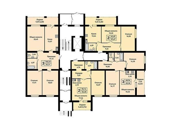 Планировки Жилой комплекс ДРУЖНЫЙ-3, дом 15 - Подъезд 1. Планировка 1 этажа