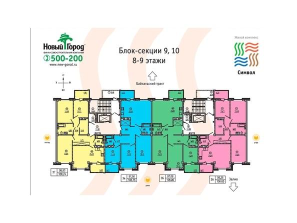 Планировки Жилой комплекс СИМВОЛ, 2 оч, б/с 10-11 - Блок-секция 10. Планировка 8-9 этажей