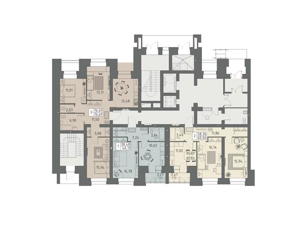 Планировки ВАВИЛОВСКИЙ ДВОРИК - Подъезд 2. Планировка 1 этажа
