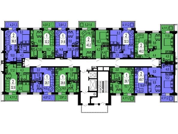 Планировки Жилой комплекс ТИХИЕ ЗОРИ, дом 4 (Красстрой) - Секция 2. Типовая планировка этажа.