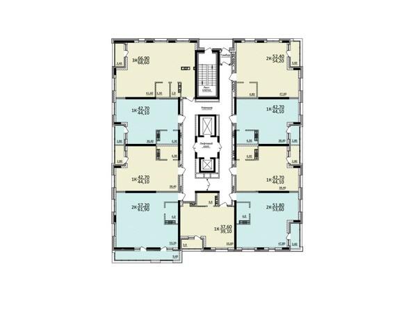 Планировки Жилой комплекс КУЗЬМИНКИ, дом 1 - Планировка 10-12 этажей
