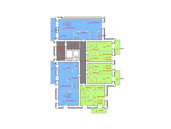Блок-секция 1. Планировка типового этажа