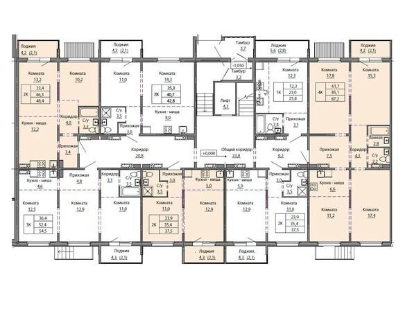Планировки МОТОР, корпус 1 - Блок-секция 4. Планировка 1-5 этажей