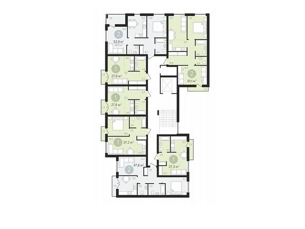 Планировки Жилой комплекс ДУНАЕВСКИЙ, дом 2 - Подъезд 2. Планировка 2-9 этажей