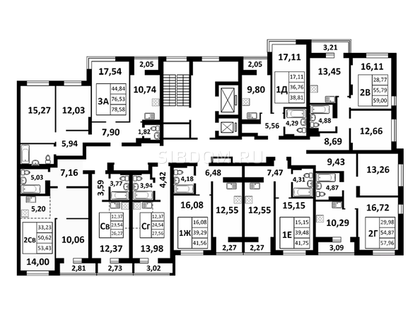 Планировки Жилой комплекс ЗОРКИЙ, 2 оч - Подъезд 2. Планировка 2 этажа