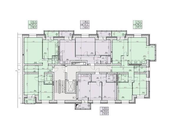 Планировки Жилой комплекс НА ВЫСОТЕ, 1 этап - Подъезд №3. Планировка типового этажа