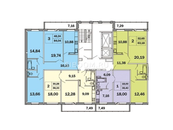 Планировки Жилой комплекс ЯСНЫЙ, дом 1 - Блок-секция 1. Планировка типового этажа