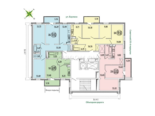 Планировки ЭВОЛЮЦИЯ, 2 оч, б/с 4-6,4-7 - Блок-секция 4-6. Планировка типового этажа