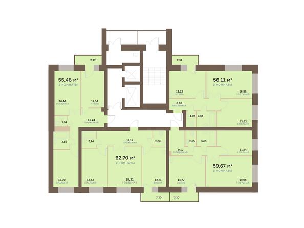 Планировки Жилой комплекс Академгородок, дом 1, корп 2 - Корпус 2. Подъезд 9. Планировка 2-6 этажей