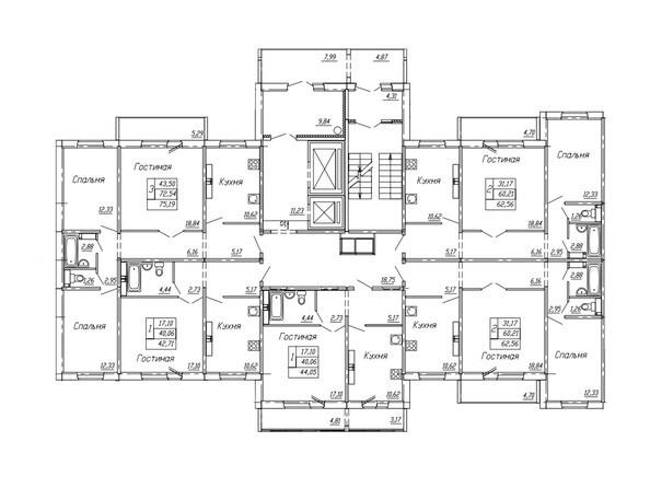 Планировки Жилой комплекс НА ОМСКОЙ - Подъезд 1. Планировка 2, 3 этажа