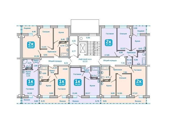 Планировки Жилой комплекс Сосновоборск, 7 мкр, 1 этап - Подъезд 3. Планировка типового этажа