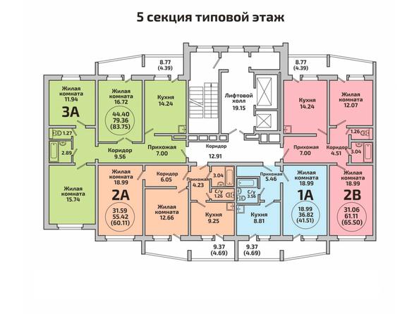 Планировки Жилой комплекс РОДНИКИ, дом 452 - Блок-секция 5. Планировка типового этажа