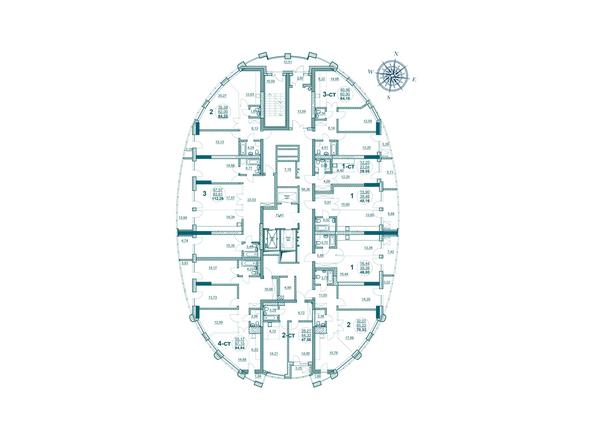Планировки Жилой комплекс ФЛОТИЛИЯ - Планировка 16-20 этажей дома «Адмирал Лазарева»